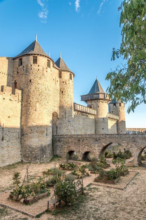 Chateau Comtal in der alten Stadt von Carcassonne - Frankreich stockfotografie