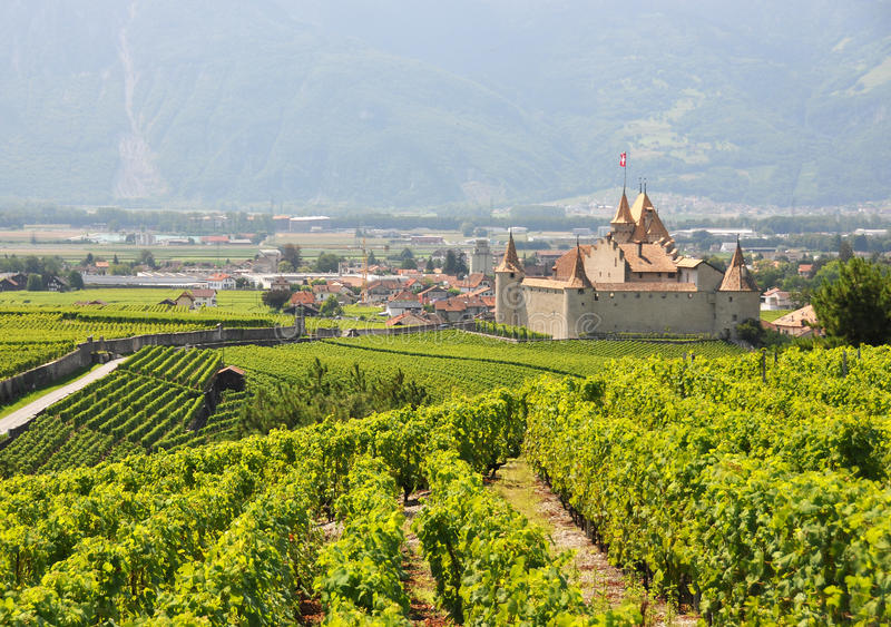 Chateau d'Aigle in canton Vaud, Switzerland stock images