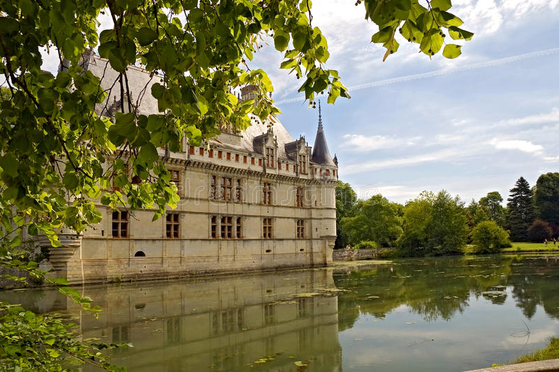 Chateau d'Azay-le-Rideau. On an island in a nearby river royalty free stock photography