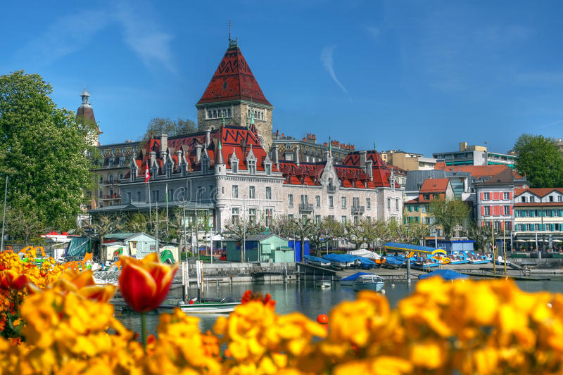 Chateau d'Ouchy 07, Lausanne, Zwitserland stock foto