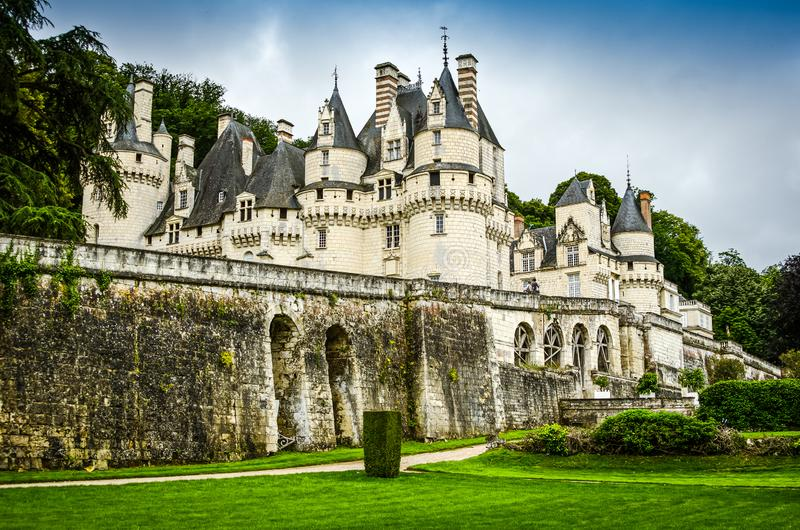 Chateau d`Usse, France - June 25, 2012. Famous castle as inspiration for fairy tale Sleeping Beauty stock image