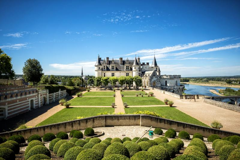 Chateau de Amboise medieval castle, Leonardo Da Vinci tomb. Loire Valley, France, Europe. Unesco site. The castle of Amboise, before being joined to the royal stock photography