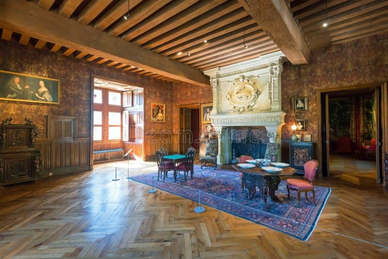 Chateau de Azay-le-Rideau interno, Francia immagini stock