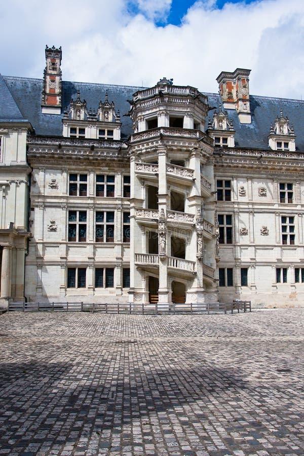 chateau de Blois。 著名螺旋形楼梯 图库摄影