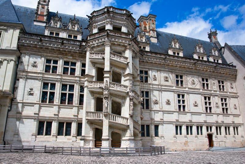 chateau de Blois。 著名螺旋形楼梯 免版税库存图片