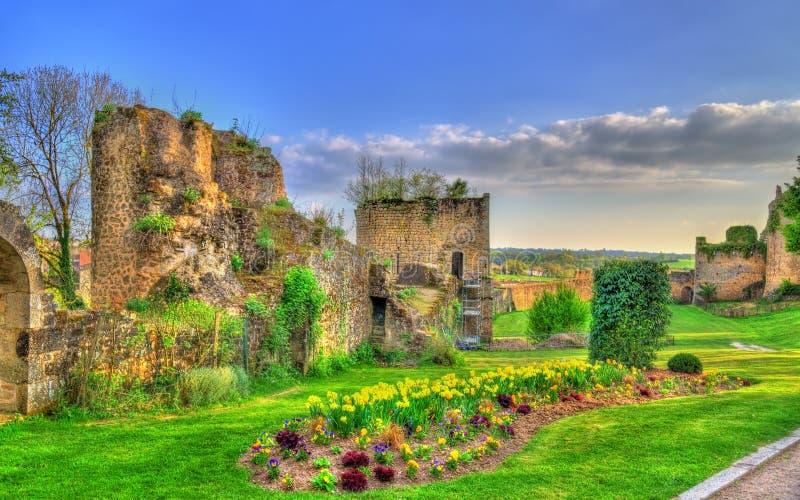 Chateau de Bressuire,一座被破坏的城堡在法国 库存照片