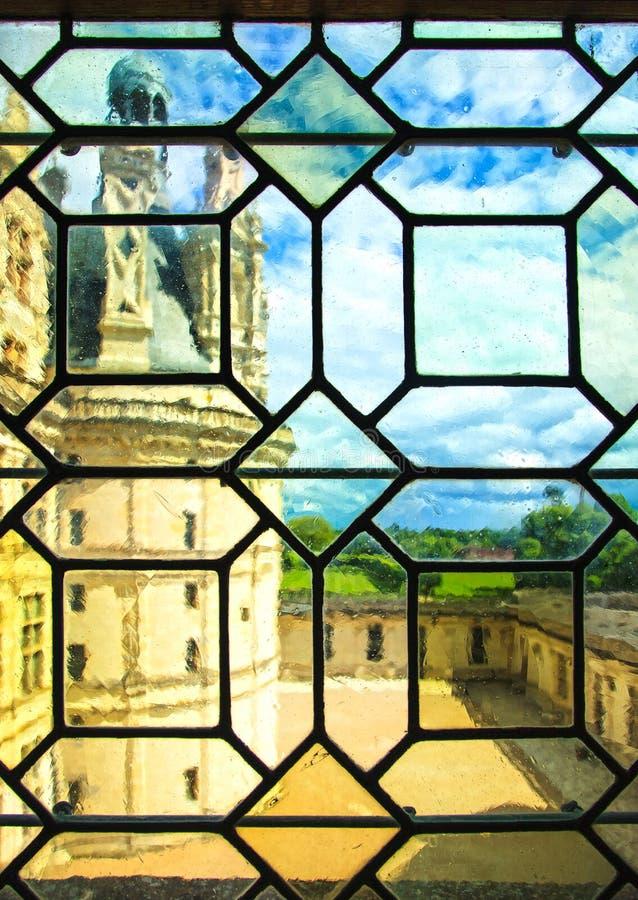 Chateau de Chambord castle, view through a glass window. Loire,. Chateau de Chambord, royal medieval french castle. View through a glass window. Loire Valley stock image