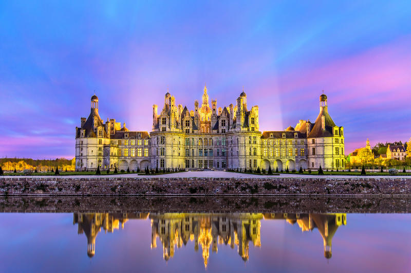 Chateau de Chambord, the largest castle in the Loire Valley - France stock photos