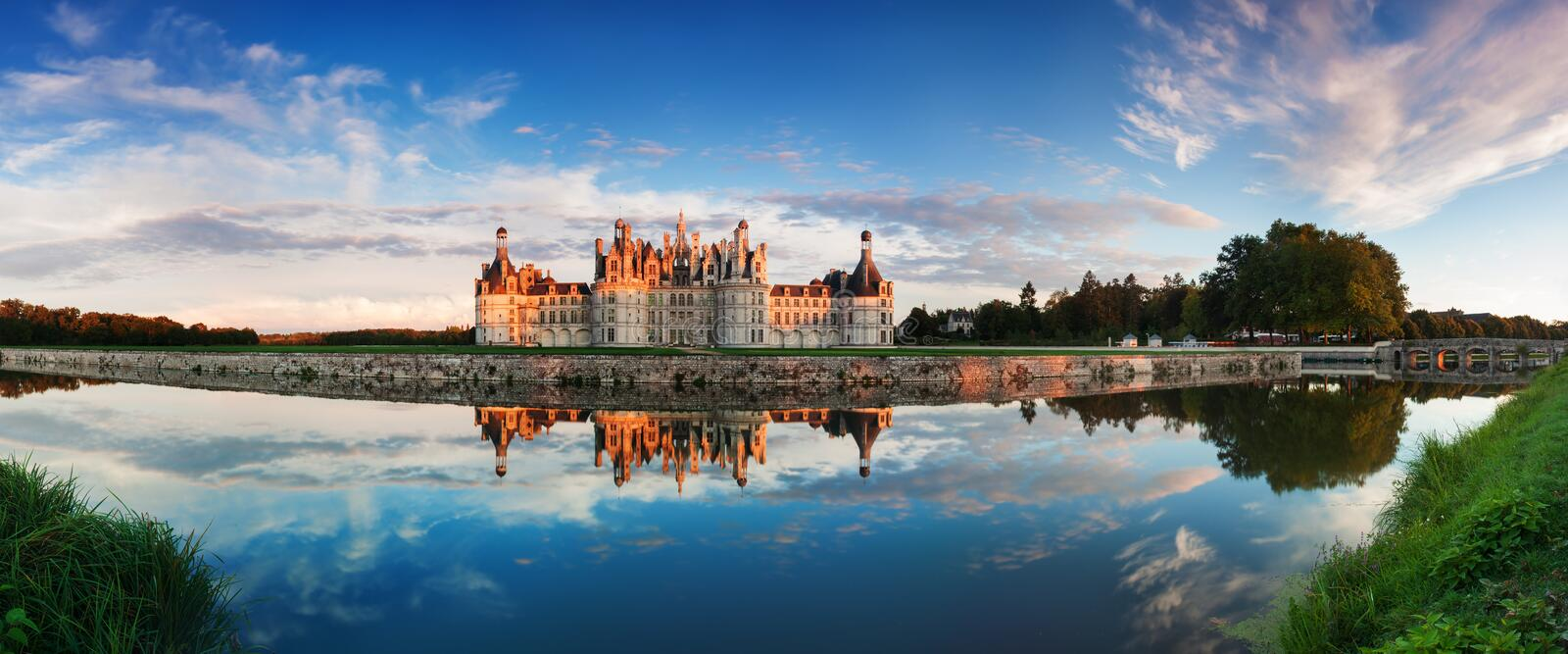 Chateau de Chambord, the largest castle and reflection in the Loire Valley. A UNESCO world heritage site in France. stock photography
