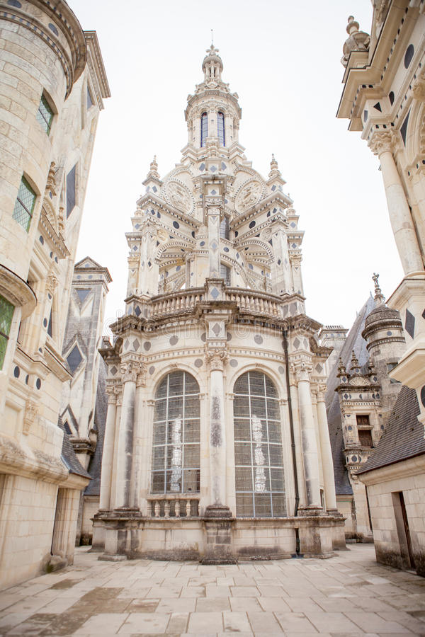 Chateau de Chambord, royal medieval french castle at Loire Valley in France stock photo