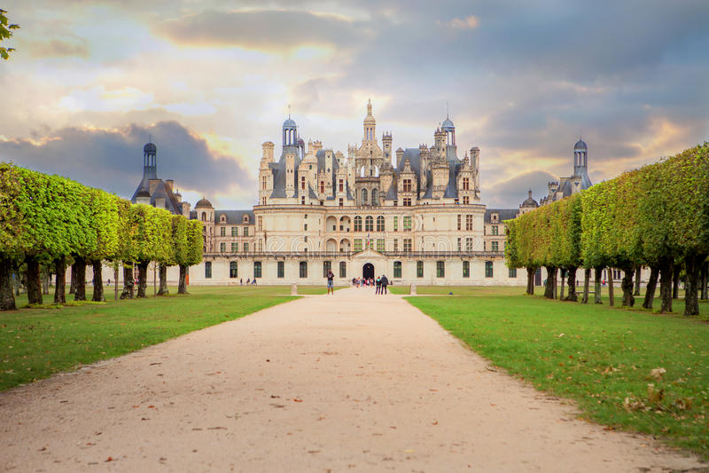 Chateau de Chambord, royal medieval french castle at Loire Valley in France stock image