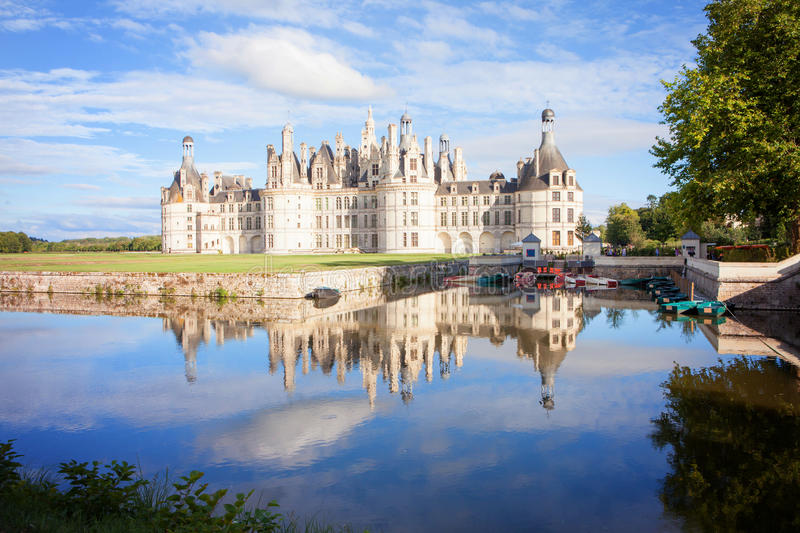 Chateau de Chambord, royal medieval french castle with reflectio stock photography