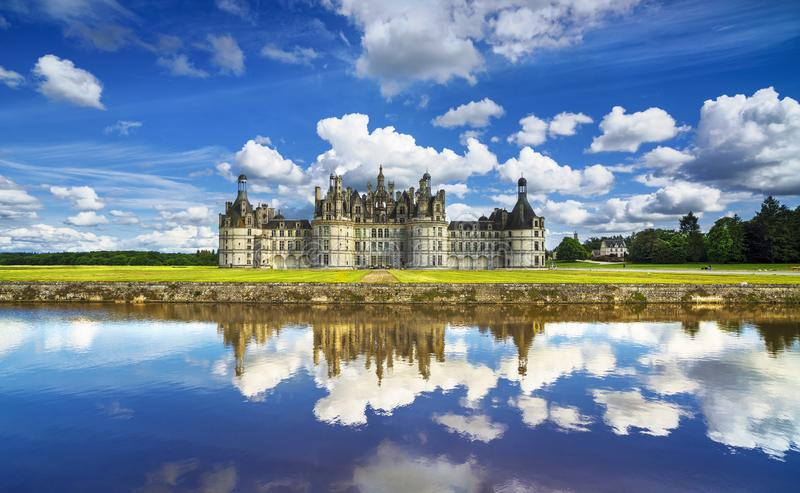 Chateau de Chambord, royal medieval french castle and reflection. Loire Valley, France. stock photography