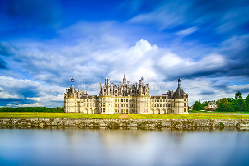 Chateau de Chambord, Unesco medieval french castle and reflection. Loire, France royalty free stock photos