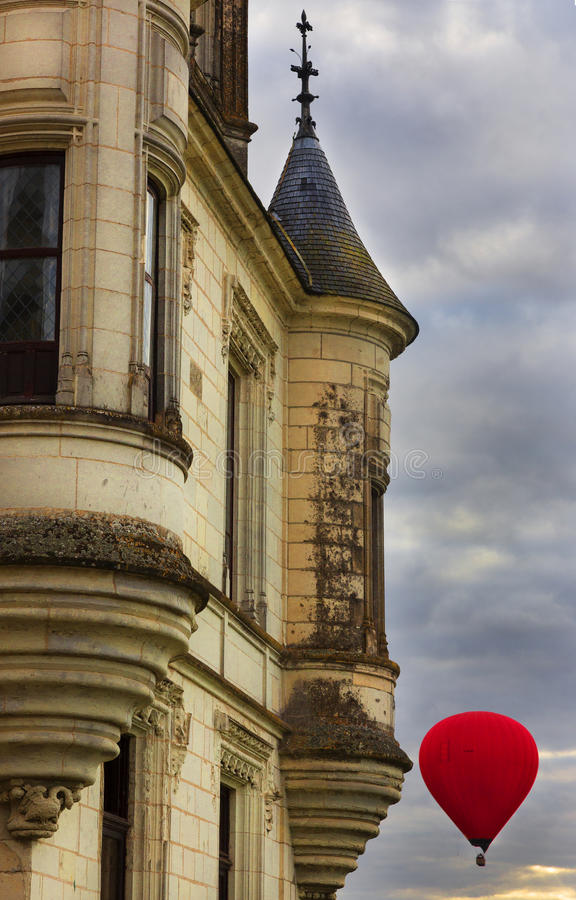 Chateau de Chaumont, Hot Air Balloon, Loire Valley, France royalty free stock image