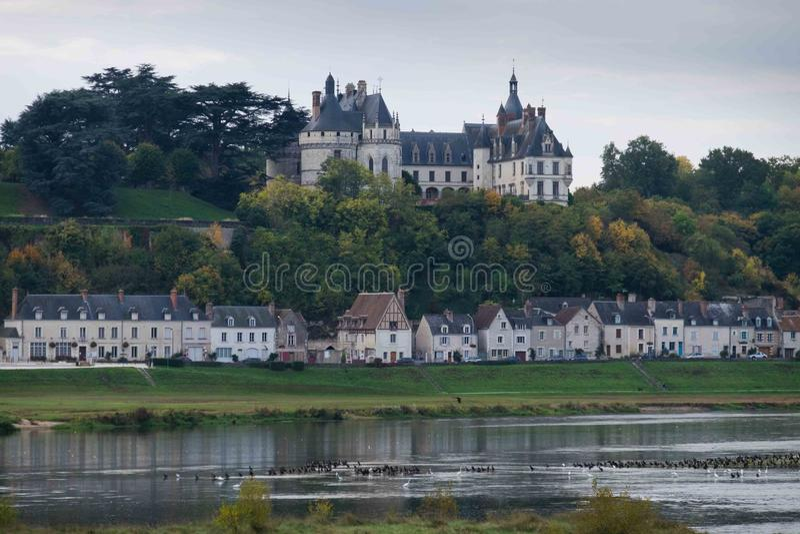Chateau de Chaumont, Loire Valley, France. View of the Chateau de Chaumont, Loire-et-Cher, across the Loire river stock images