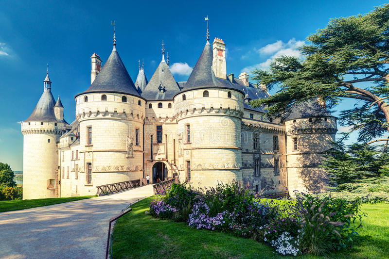 Chateau de Chaumont-sur-Loire, France. This castle is located in the Loire Valley, was founded in the 10th century and was rebuilt in the 15th century royalty free stock images