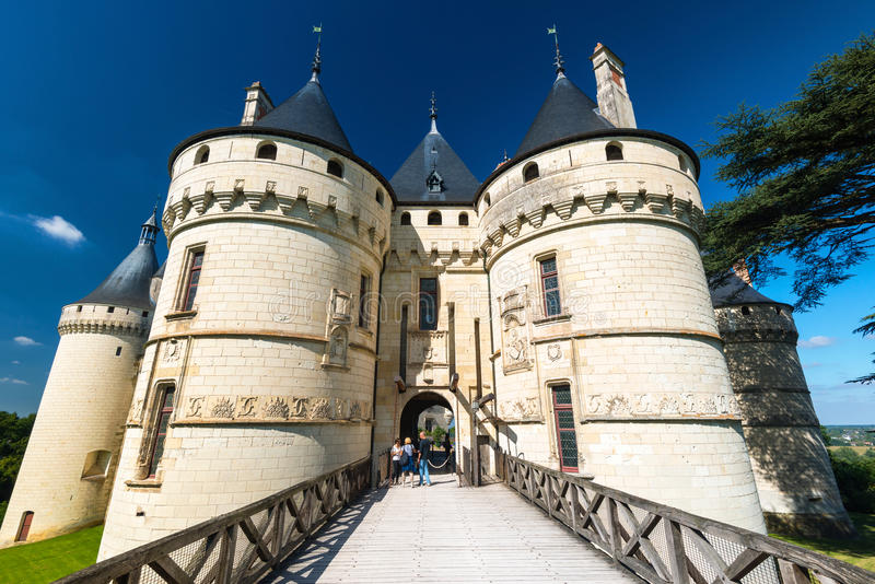 Chateau de Chaumont-sur-Loire, France. Tourists visiting Chateau de Chaumont-sur-Loire, France. This castle is located in the Loire Valley, was founded in the stock photos