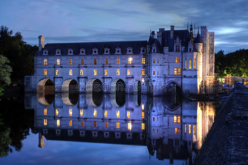 Chateau de Chenonceau, Loire Valley, France. Main building of the famous Chateau de Chenonceau in Loire Valley, France, spanning over the river Cher in which it royalty free stock photography