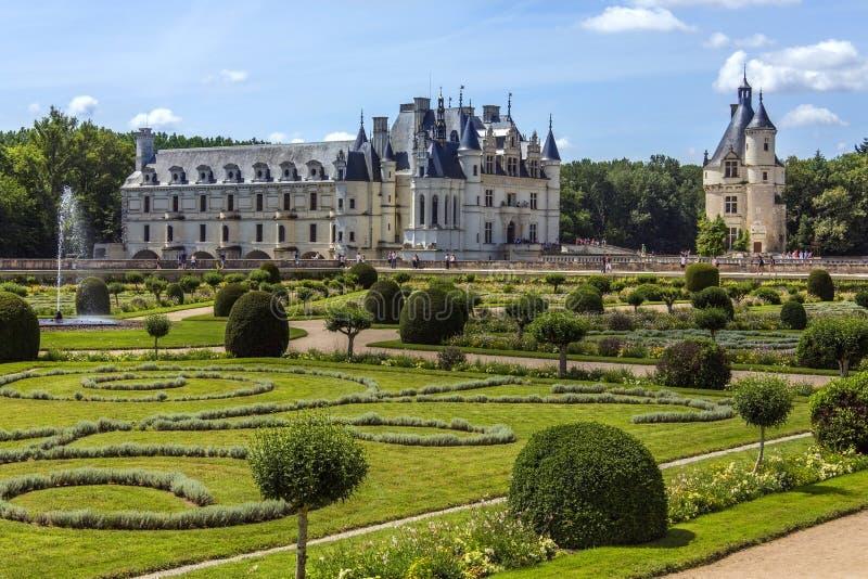 Chateau de Chenonceau- Loire Valley - Frankrike. royaltyfria bilder