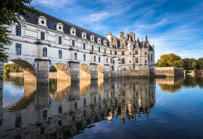 Chateau de Chenonceau på den Cher floden, Loire Valley, Frankrike arkivbilder