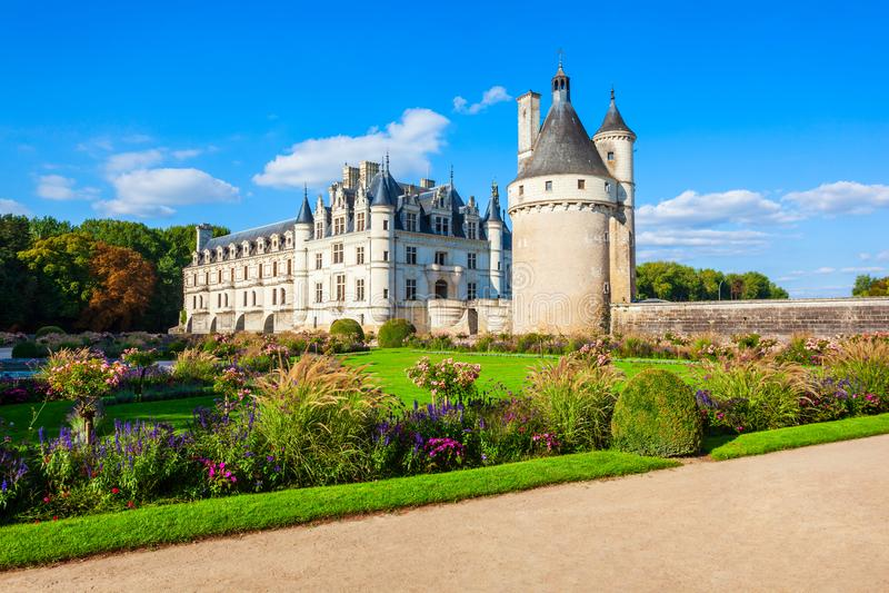 Chateau de Chenonceau slott, Frankrike royaltyfri fotografi