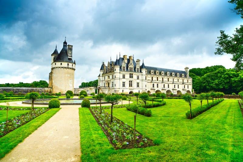Chateau de Chenonceau slott och trädgård. Frankrike arkivfoton