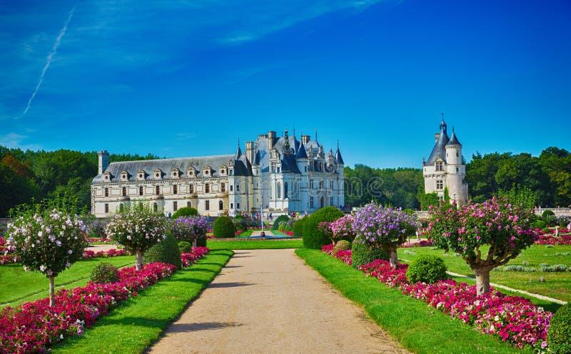 Chateau de Chenonceau trädgårdsikt arkivbilder
