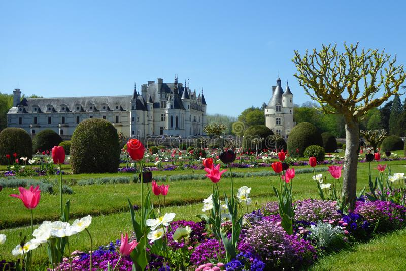 Chateau DE Chenonceau, de Vallei van de Loire, Frankrijk stock afbeelding