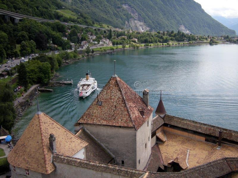 Chateau DE Chillon, Montreux, Zwitserland stock afbeelding