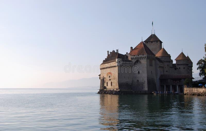 Chateau DE Chillon op het Meer van Genève Montreux zwitserland royalty-vrije stock afbeelding