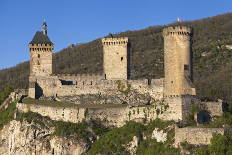 Chateau de Foix på skymning arkivfoto