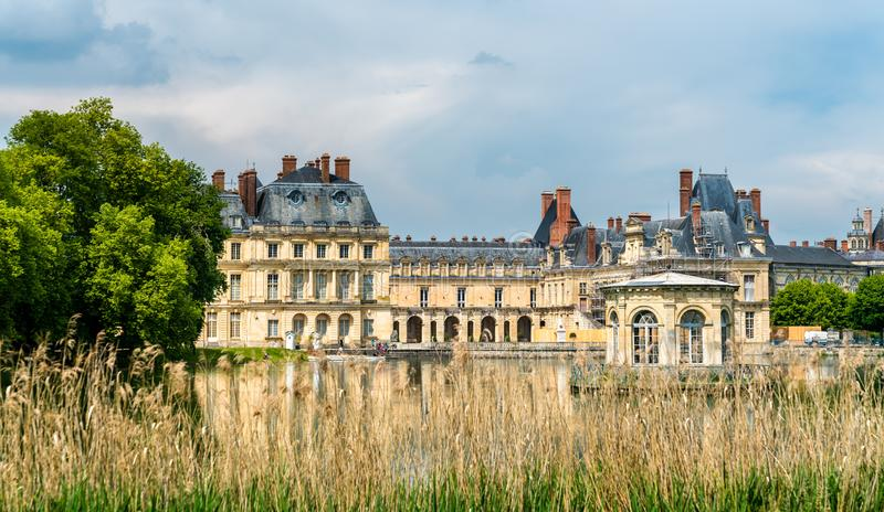 Chateau de Fontainebleau, one of the largest French royal palaces. Nowadays it is a government-owned monument and a UNESCO heritage site stock image