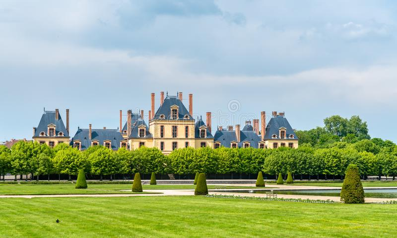 Chateau de Fontainebleau, one of the largest French royal palaces. Nowadays it is a government-owned monument and a UNESCO heritage site royalty free stock photo