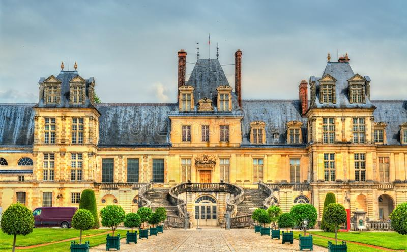 Chateau de Fontainebleau, one of the largest French royal palaces. Nowadays it is a government-owned monument royalty free stock image