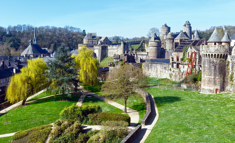 The Chateau de Fougeres (France) spring view. stock image