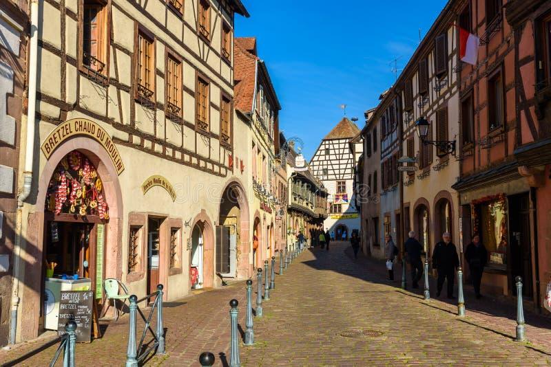 Chateau de Kaysersberg - historical village in wine region, vineyards in Alsace, France - Europe royalty free stock photo