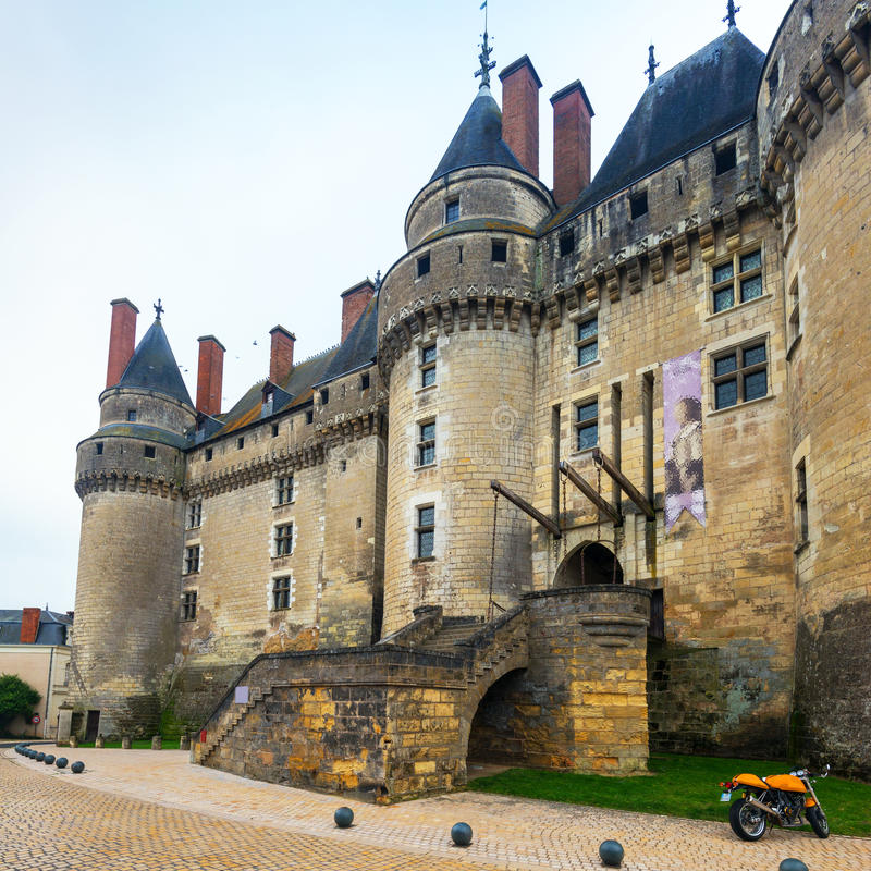 The Chateau de Langeais, France. This castle is located in Langeais in the Loire Valley, was built from the 10th to the 15th century and is a tourist stock photography