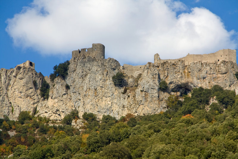 Chateau de Peyrepertuse fotografia stock libera da diritti