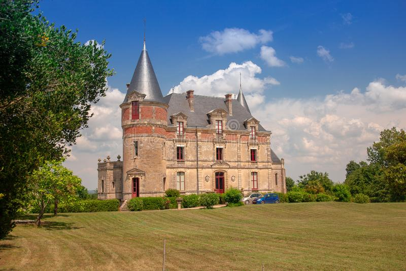 "CHATEAU DE RAYNE VIGNEAU, Bordeaux, France. Château de Rayne-Vigneau is a sweet white wine ranked as Premier Cru Classé French, "" royalty free stock photo"