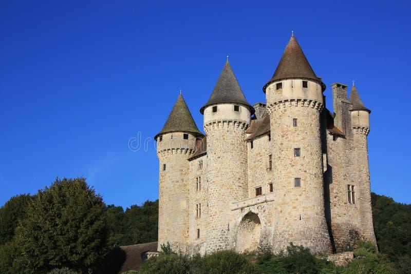 chateau de val的sunset 免版税库存图片