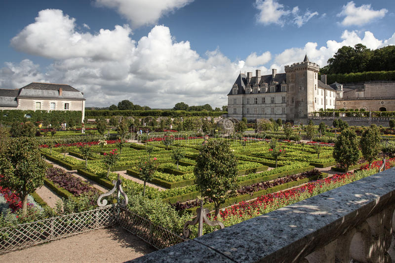 Chateau DE Villandry in de Loire-Vallei in Frankrijk royalty-vrije stock fotografie