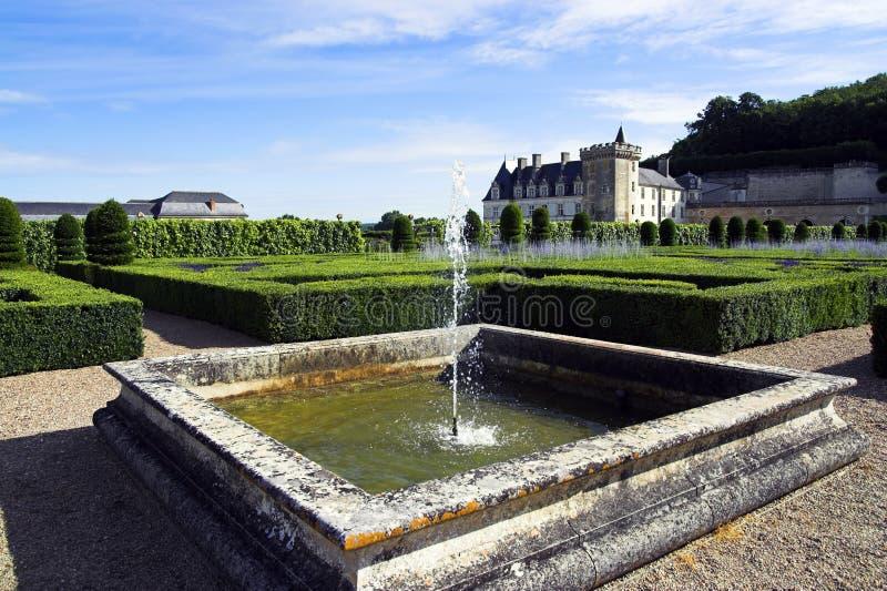 Chateau de Villandry & Gardens, Loire, France. View of fountain & Chateau de Villandry & Gardens, Loire, France stock images