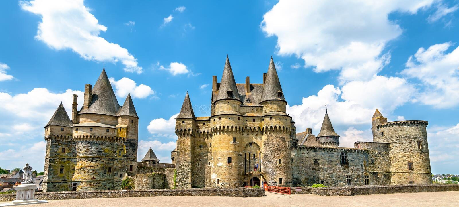 The Chateau de Vitre, a medieval castle in Brittany, France royalty free stock photo