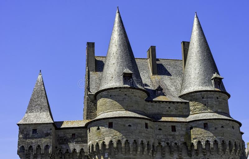 Chateau de Vitre - mittelalterliches Schloss in der Stadt von Vitré, Frankreich stockbild