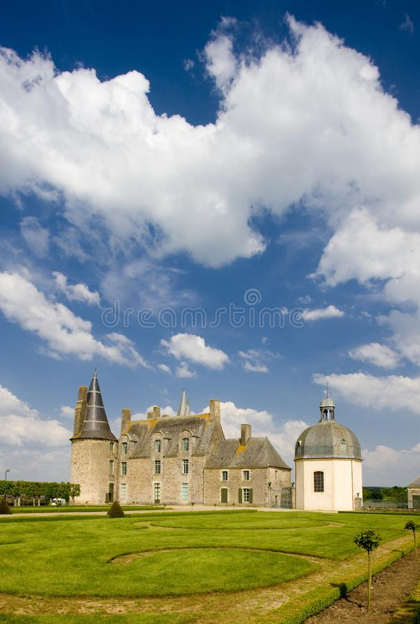 Chateau des Rochers Sévigné, Brittany, France. Outdoor, outdoors, outside, exterior, exteriors, europe, western, bretagne, svign, les, architecture, old stock photo