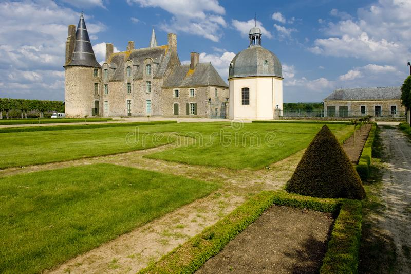 Chateau des Rochers Sévigné, Brittany, France. Outdoor, outdoors, outside, exterior, exteriors, europe, western, bretagne, svign, les, architecture, old stock photos