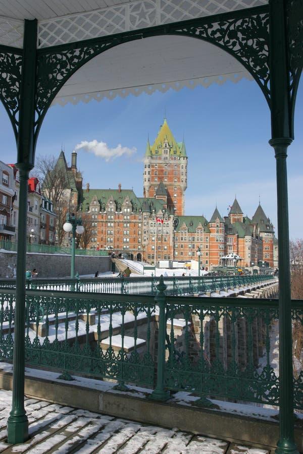 Chateau Frontenac-Ansicht von Dufferin-Terrasse, Québec-Stadt lizenzfreie stockbilder