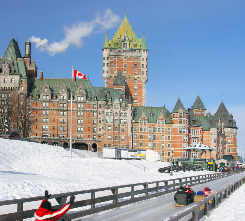 Chateau Frontenac im Winter, traditionelles Dia, Kanada stockfotos
