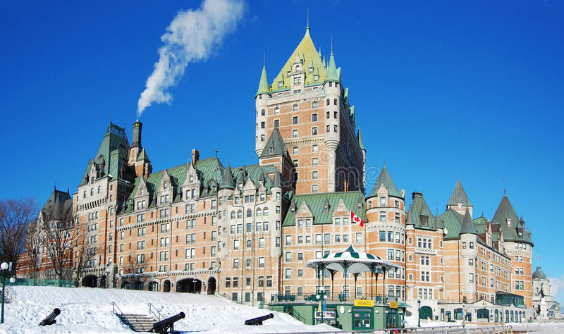 Chateau Frontenac, Quebec City, Canada. Chateau Frontenac, dominate the skyline of Quebec City, a French-style castle hotel builded in 1893, landmark of Quebec stock photos